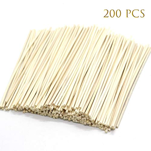 (AQUEENLY Natural Rattan Reed Diffuser Sticks Essential Oils Diffuser Sticks 6.7 Inches Reed Sticks Replacement, 200 Pieces)