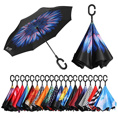 - BAGAIL Double Layer Inverted Umbrellas Reverse Folding Umbrella Windproof UV Protection Big Straight Umbrella for Car Rain Outdoor with C-Shaped Handle Blue Flower