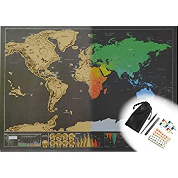 Amazon mini scratch off world map poster set with accessories mini scratch off world map poster set with accessories small size 167 x 118 in gumiabroncs Images