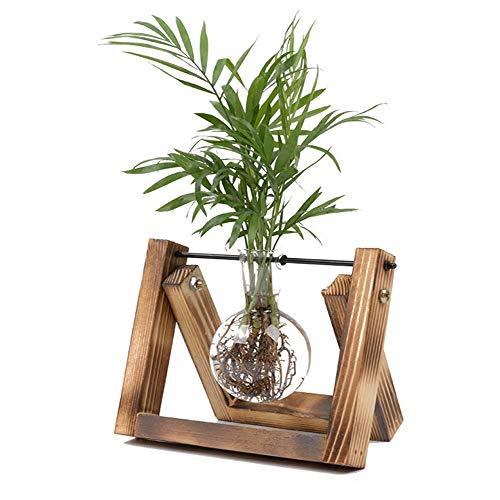 HUABEI Plant Terrarium Wooden Stand, Air Planter Bulb Glass Vase Metal Swivel Holder Retro Tabletop Hydroponics Home Garden Office Decoration - 3 Bulb Vase (1 Bulb Vase)