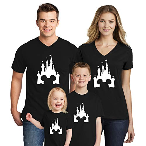 Disney Family Trip #4 Disneyland Castle Black Women V Neck T-Shirts Disney Family Mickey Minnie Mouse Family Disney Trip T-Shirts X-Large Cotton Vee Tee Shirts