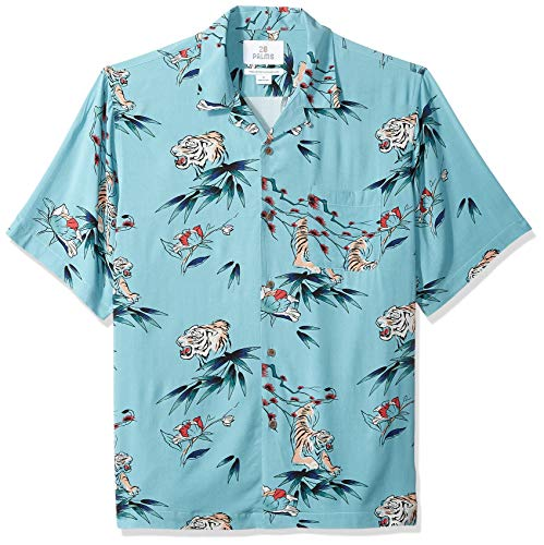 (28 Palms Men's Relaxed-Fit Vintage Washed 100% Rayon Tropical Hawaiian Shirt, Jungle Cat Light Blue, Medium)