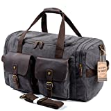 SUVOM Leather Canvas Duffle Bag Weekender Overnight Travel Duffel Gym Bag Luggage (Dark Grey)