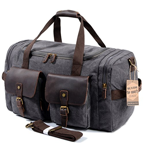 SUVOM Leather Canvas Duffle Bag Weekender Overnight Travel Duffel Gym Bag Luggage (Dark Grey)
