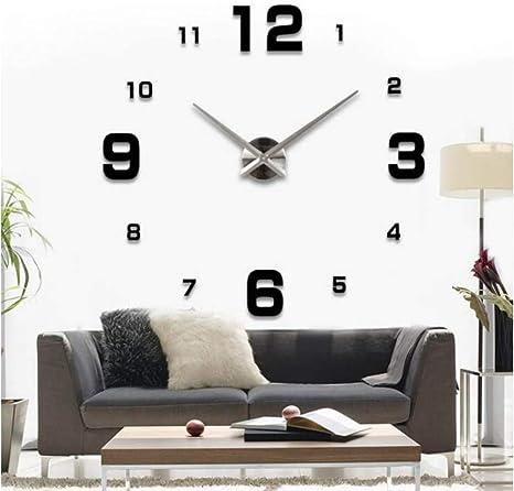 Mmlzlz 3d Wall Clock Living Room Ultra 3d Wall Clock Digital Clock Wall Stickers Clocks Paste Modern Minimalist Mirror Acrylic Home Kitchen