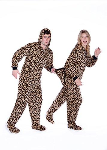 Big Feet Pjs Leopard Print Hoodie Plush Footed Pajamas w/Drop Seat (XL)