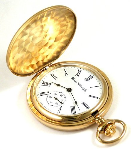 Dueber Swiss Mechanical Pocket Watch, Satin Gold Hunting Case, Assembled in USA!