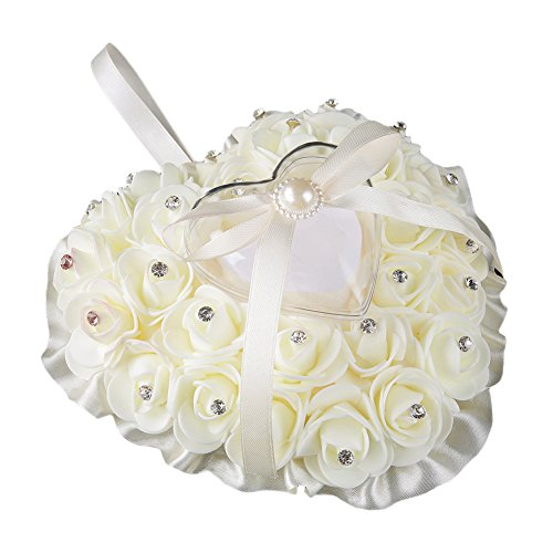 bromrefulgenc Candy Boxes,Candy Container hodler for Wedding Bridal Birthday Party Decors,Rose Flower Rhinestone Heart Shaped Satin Bowknot Ring Box Pillow Wedding Gift - Beige ()