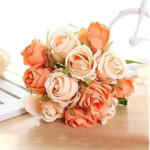 ARISLUX Chicken Party - 12pcs Artificial Rose Bouquet Decorative Silk Flowers Bride for Wedding Home Party Decoration Wedding Supplies 1