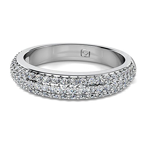 Platinum This beautiful multi-row wedding band features pave-set Round Brilliant Diamonds and is a beautiful match to its engagement ring counterpart 5/8 CTW near-colorless Color SI1-SI2 (Round Brilliant Bead Set Band)