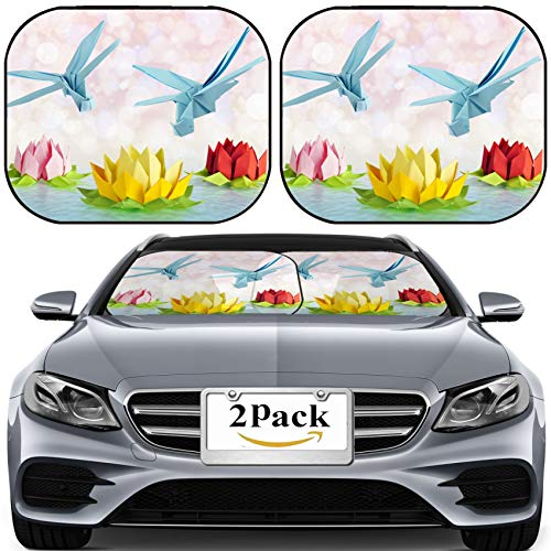 MSD Car Sun Shade for Windshield Universal Fit 2 Pack Sunshade, Block Sun Glare, UV and Heat, Protect Car Interior, Image ID: 18549151 Origami Blue Dragonfly Over Flowers Lotus Over White backg