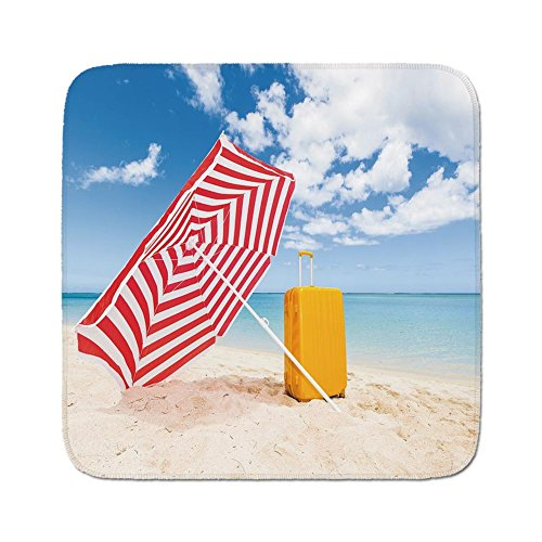 Cozy Seat Protector Pads Cushion Area Rug,Yellow and Blue,Windy Sandy Beach with Sunshade and Trolley Summer Holiday Relax Picture,Multicolor,Easy to Use on Any Surface ()