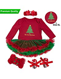Baby Girls Christmas Tutu Romper Dress Headband 4PCS Party Outfits Set