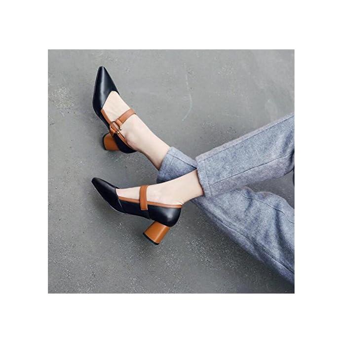 Gaogenx Scarpe Da Donna Vera Pelle Chunky Heel Cinturino Sul Collo Del Piede Vestito Casual Mary Jane Pompe Taglia 35 A 38 Eu35