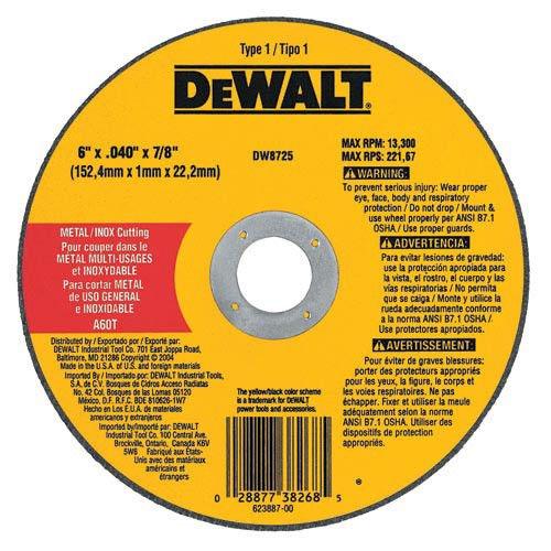 DEWALT DW8725 6 inch x .040 inch A60T High Performance Metal Cutting Abrasve