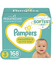 Pampers Swaddlers Disposable Diapers Size 3, 168 Count, ONE MONTH SUPPLY (Packaging and Prints May Vary)