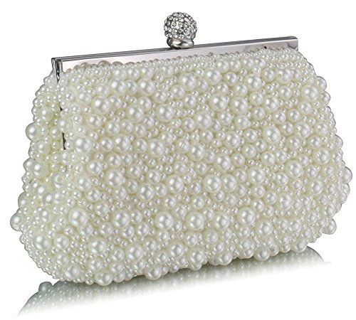 TrendStar - Bolso de mano para mujer, diseño con cuentas de cristal - Ivoire 1