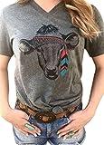 Tribal Cow Head Funny T-Shirt Women's V-Neck Short Sleeve Animal Print Tops Tee Size XL (Gray)