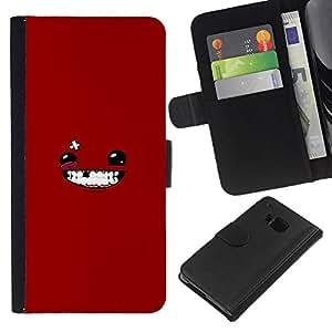 LECELL--Cuero de la tarjeta la carpeta del tirón Smartphone Slots Protección Holder For HTC One M7 -- Cara sonriente de Red --