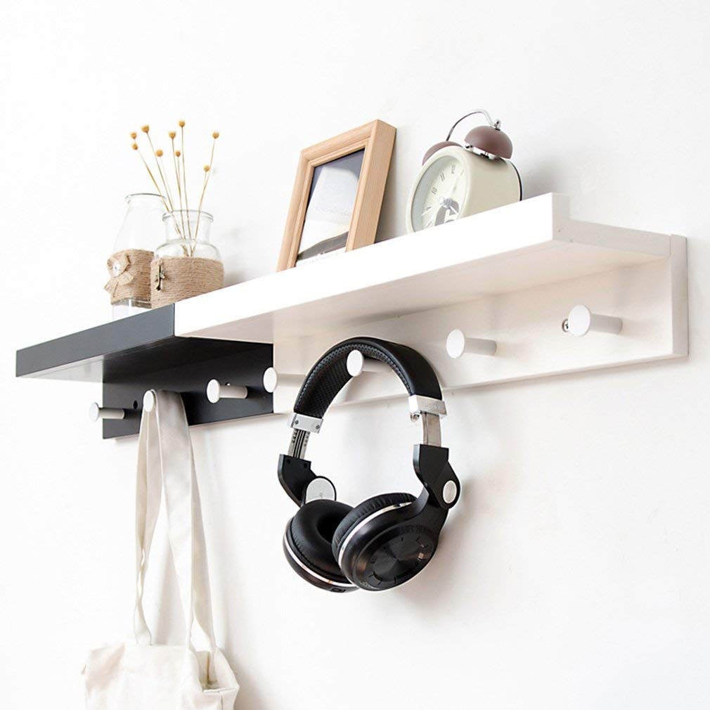 B BXJ Wall Racks multiunction Double Hook Bedroom Study Bookshelf Wall Mounted Black and Combination. Shelf (Size   A)