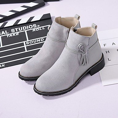 Fashion EU38 Winter 5 Women'S Shoes Casual Boots Mid CN38 5 Boots Round Comfort RTRY Heel Toe UK5 Beige For Boots Calf Gray Pu Flat Zipper US7 tCXBwSnq