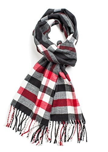 Veronz Soft Classic Cashmere Feel Winter Scarf, Black/Red Plaid