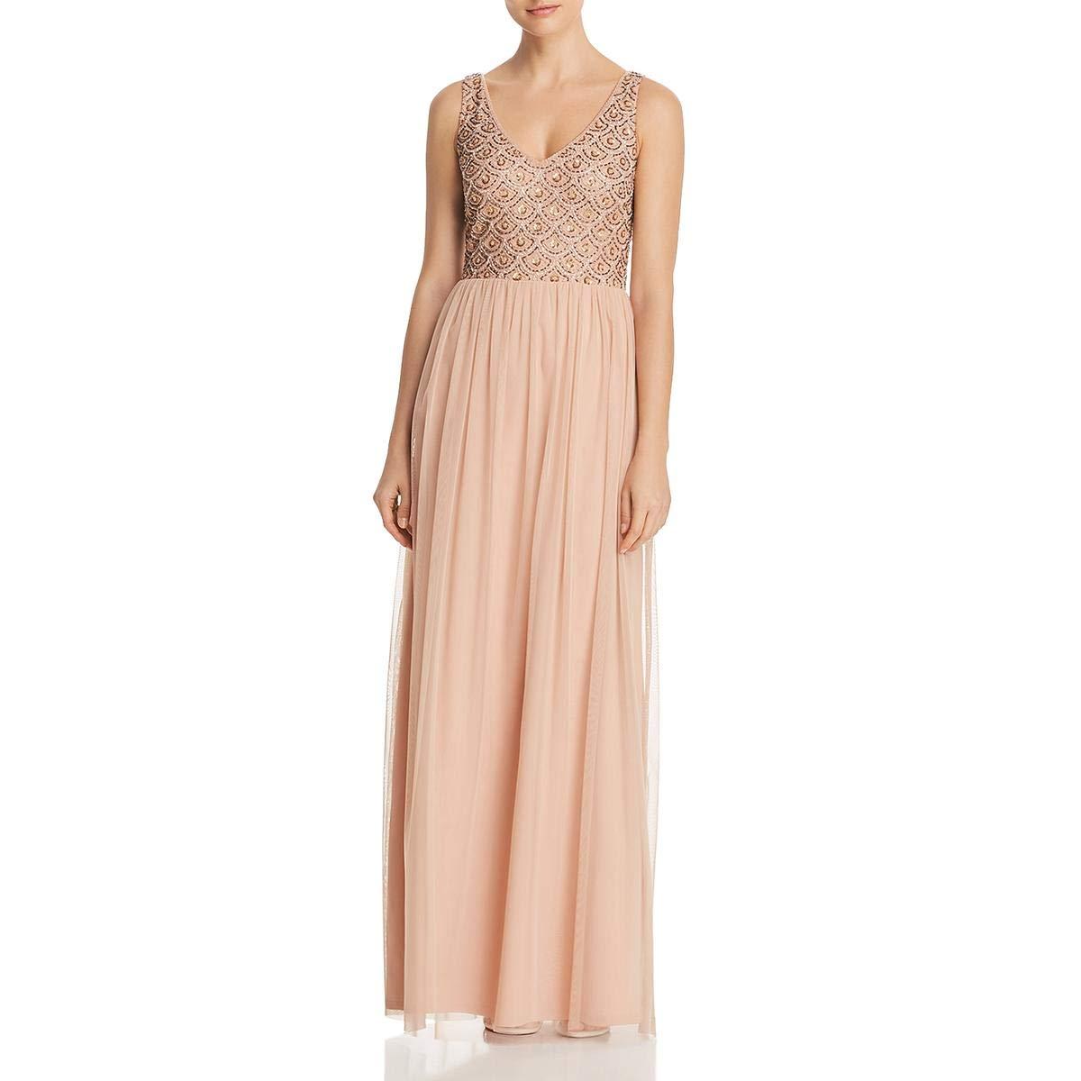 Adrianna Papell Womens Sleeveless Beaded Long Dress