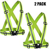 Reflective Vest (2 Pack) Lightweight,Adjustable & Elastic Safety & High Visibility for Running Jogging, Walking,Cycling Fits Over Outdoor Clothing - Motorcycle Jacket Outdoor Gear