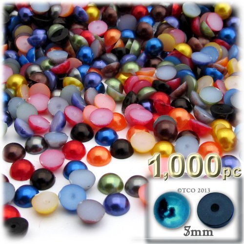 The Crafts Outlet 1000-Piece Pearl Finish Half Dome Round Beads, 5mm, Jewel Tone Mix
