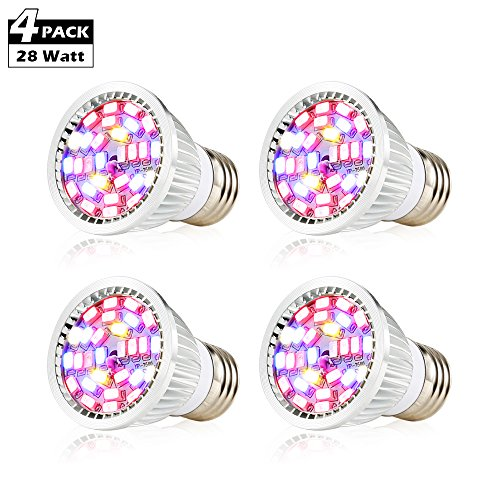 CREATE BRIGHT Led Grow Light Bulb, 28W Plant Bulb Full Spectrum Led Grow Bulb E26 Grow Plant Light for Indoor Plants,Hydroponics Greenhouse Organic,Pack of 4
