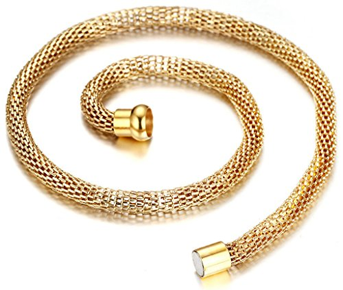 AnaZoz Jewelry Men's 18k Yellow Gold Plated Stainless Steel Serpentine Mesh Chain Magnetic Button Necklace (Yellow Gold Serpentine Chain)
