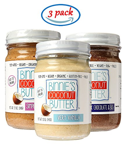 Butter Jam (Binnie's Coconut Butter Organic Spread - Sampler Pack with Our 3 Top Flavors (3 Pack))