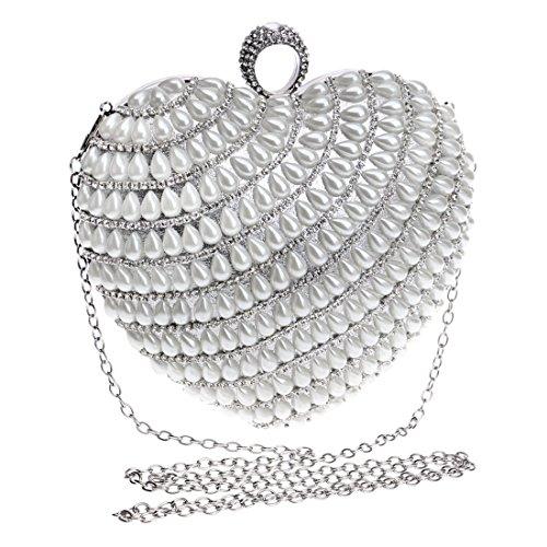 a da Black sposa sera Color per borsa Borsa da sera Silver cuore forma di Kakjpsjaksml da con donna frizione borsa borsa zqvS611Bw