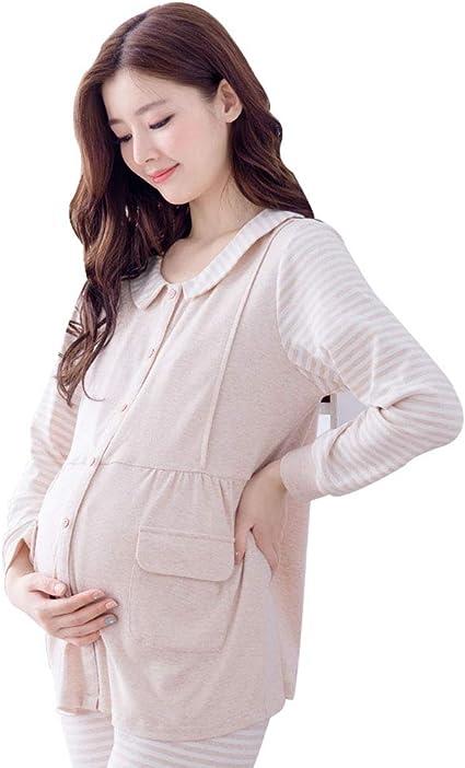 Ropa para Dormir Pijamas de Maternidad Embarazo Beige algodón ...
