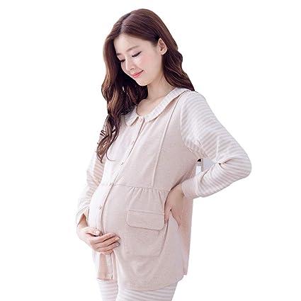 004aa82638 Nightgowns Maternity Pajamas Pregnancy Beige Cotton Nightwear Classic  Stripes Printing Pregnancy Sleepwear Breastfeeding Clothes Pregnant Women