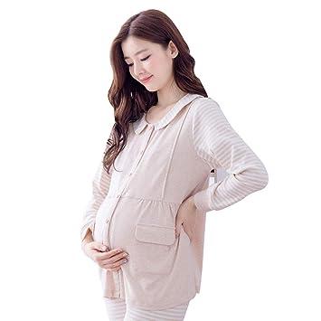 441b29d718a9d Vêtements de nuit Maternité Pyjama Grossesse Beige Coton Vêtements De Nuit  Classique Rayures Impression Grossesse Vêtements