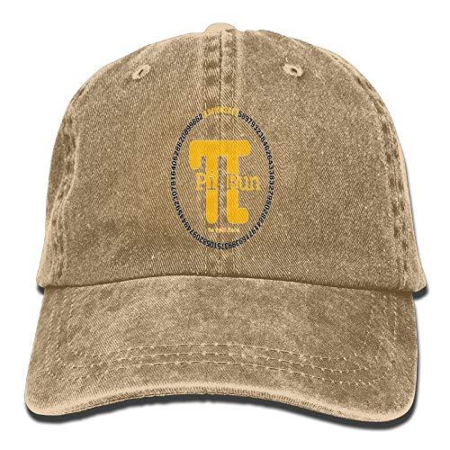 (Men Women PI Clock Adjustable Vintage Baseball Caps Washed Cowboy Dyed Denim Hat Unisex,Natural,One Size)