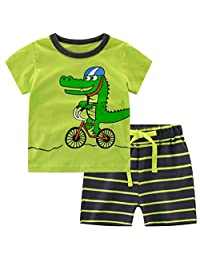 Csbks Kids Boys Summer Outfits Short Sleeve T-Shirt & Shorts Sets 1-6 Toddler