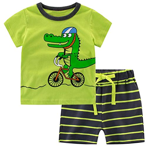 Csbks Kids Boys Summer Outfits Short Sleeve T-Shirt & Shorts Sets 1-6 Toddler 2T Crocodile Crocodile Short