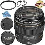 Canon EF 100mm f/2 USM Lens 2518A003 + 58mm UV Filter + Fibercloth + Lens Capkeeper Bundle