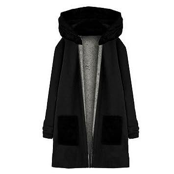 Kleidung Damen DAY.LIN Lange Ärmel Hoodie Mantel Jacke Windjacke Outwear Oben (XL, Schwarz)