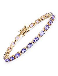 Genuine Oval Tanzanite Bracelet in 14k Yellow Gold Plated Sterling Silver