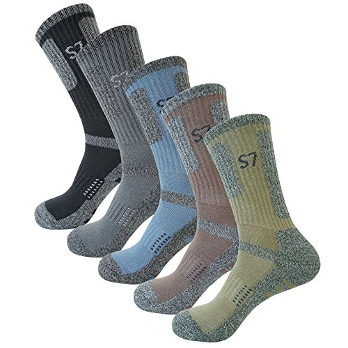 SEOULSTORY7 5Pack Men's Climbing DryCool Cushion Hiking/Performance Crew Socks 5Color XL