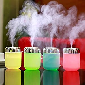 180ml Cool Mist Humidifier Aromatherapy Essential Oil Diffuser USB Mini Personal Humidifier with 7 Color LED Night Light Changing Auto Shuts-off Air Purifier Steam Diffuser for Bedroom Car Home Office