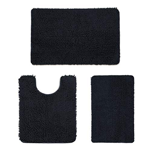 Phrixus 3 Piece Black Bathroom Rugs and Mats Sets, Ultra Soft Absorbent Chenille Bath Mat and U-Shaped Toilet Rugs with Non Slip TPR Bottom, Machine Washable Rug for Bathroom Tub, Shower