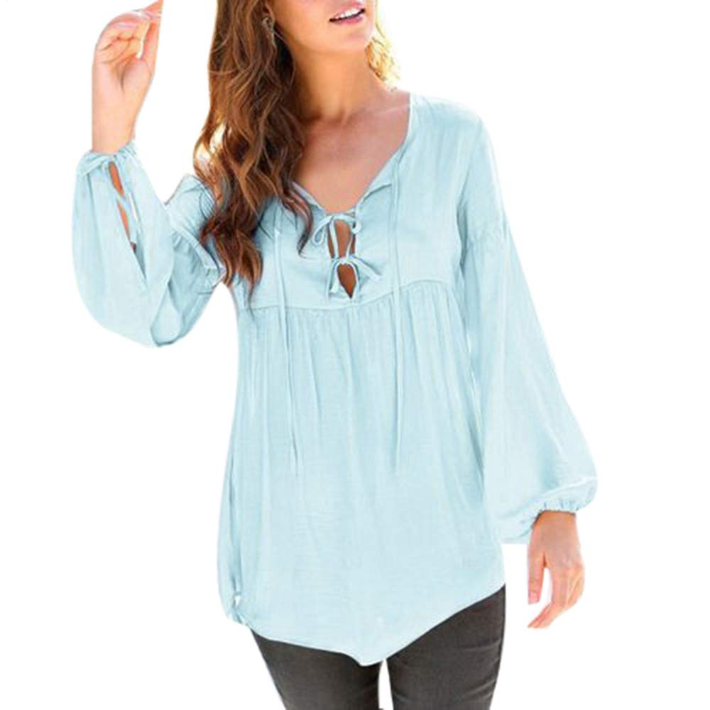 Linkay Women Hoodies Sweatshirt Blouse Easy Fit Casual Female Solid Color