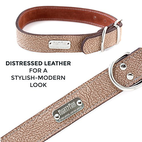 Pictures of Mighty Paw Leather Dog Collar Super Soft Light Brown 5