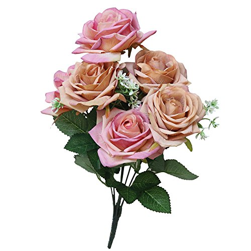 (SANGQU 1Pcs 7 Heads Artificial Flowers PE Material Rose Floral for Home Decoration Wedding Decor, Bride Holding Flowers,Garden Craft Art Decor(Vase not Included))