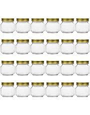 Tebery 24 Pack Mason Jars 8OZ with Regular Gold Lids Clear Glass Jars Ideal for Jam, Honey, Wedding Favors, Shower Favors, Baby Foods