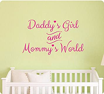 24u0026quot; PINK Daddyu0027s Girl And Mommyu0027s World Wall Decal Sticker Art Mural  Home Décor Quote